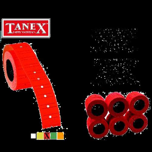 Tanex Fiyat Etiketi Çizgili 12x21 Fosforlu Kırmızı