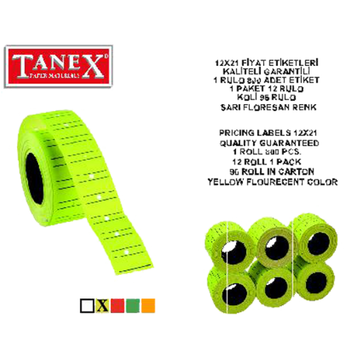 Tanex Fiyat Etiketi Çizgili 12x21 Fosforlu Sarı