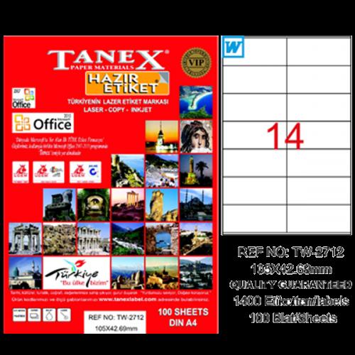 Tanex Lazer Etiket 100 YP 105x42.69 Laser-Copy-Inkjet TW-2712