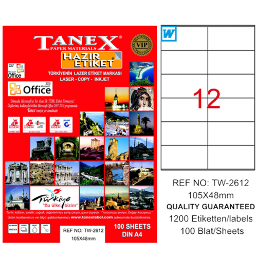 Tanex Lazer Etiket 100 YP 105x48 Laser-Copy-Inkjet TW-2612
