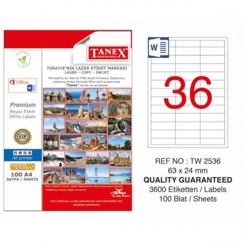 Tanex Lazer Etiket 100 YP 63x24 MM Laser-Copy-Inkjet TW-2536