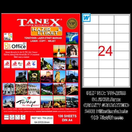 Tanex Lazer Etiket 100 YP 64x33 MM Laser-Copy-Inkjet TW-2533