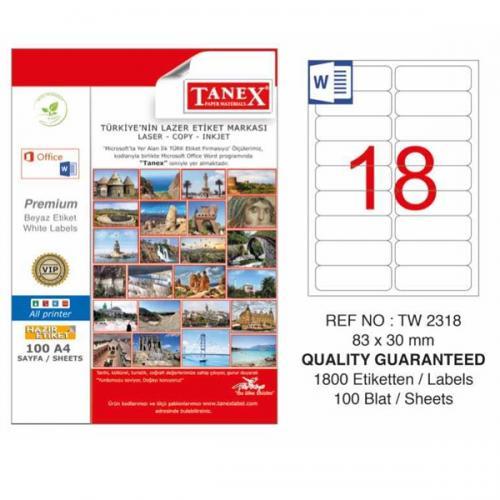 Tanex Lazer Etiket 100 YP 83x30 Laser-Copy-Inkjet TW-2318