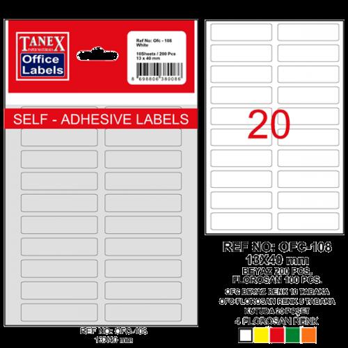 Tanex Ofis Etiketi Poşetli 13x40 MM Beyaz OFC-108