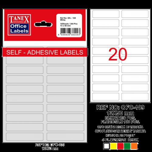 Tanex Ofis Etiketi Poşetli 13x50 MM Beyaz OFC-109