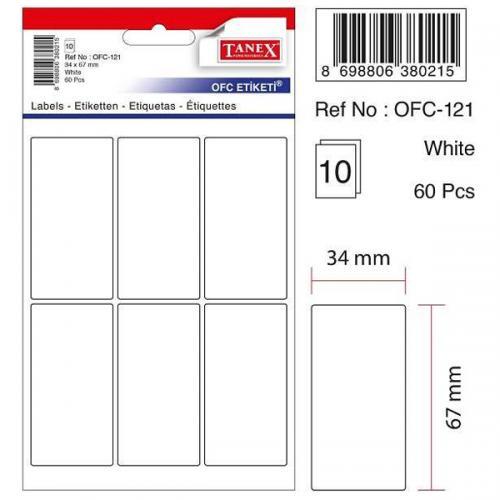 Tanex Ofis Etiketİ Poşetli 34x67 MM Beyaz OFC-121