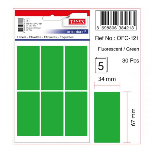 Tanex Ofis Etiketİ Poşetli 34x67 MM Yeşil OFC-121
