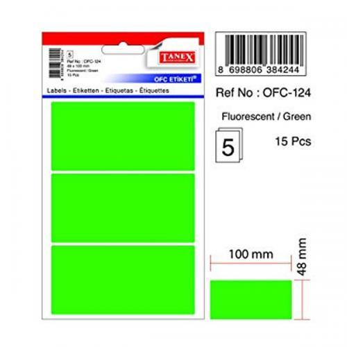 Tanex Ofis Etiketi Poşetli 48x100 MM Fosforlu Yeşil OFC-124