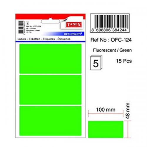 Tanex Ofis Etiketi Poşetli 48x100 MM Yeşil OFC-124