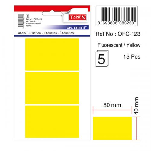 Tanex Ofis Etiketi Poşetli 48x80 MM Fosforlu Sarı OFC-123