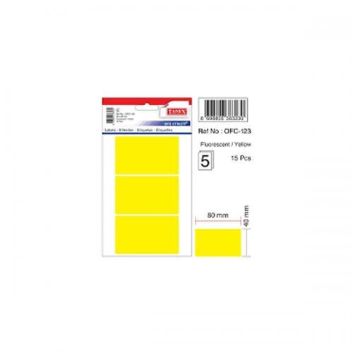 Tanex Ofis Etiketi Poşetli 48x80 MM Sarı OFC-123