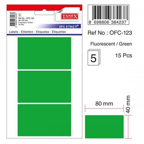 Tanex Ofis Etiketi Poşetli 48x80 MM Yeşil OFC-123