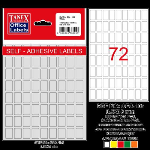 Tanex Ofis Etiketi Poşetli 9.5x16 MM Beyaz OFC-105