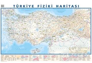 Türkiye Mülki İdare Bölümleri Fiziki Haritası 50x35 (Çift Taraflı)