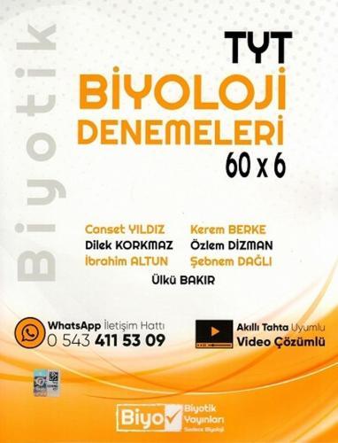 Biyotik YKS TYT Biyoloji Denemeleri 60x6 Deneme Video Çözümlü Biyotik Yayınları