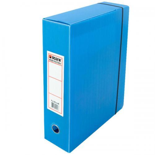Üçgen Proje Kutusu Plastik Lastikli Battal 29X40X9 Mavi