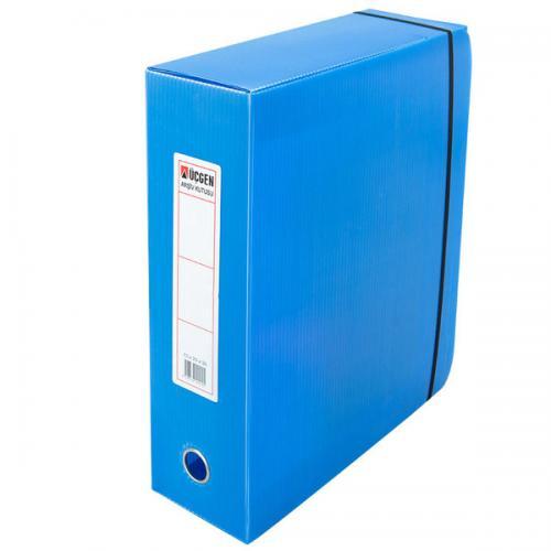 Üçgen Proje Kutusu Plastik Lastikli Battal Geniş 29x36x15 Mavi
