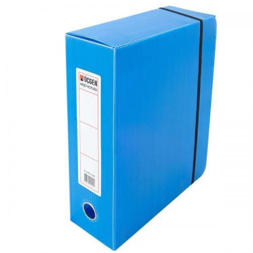 Üçgen Proje Kutusu Plastik Lastikli Geniş 24x32x9 Mavi