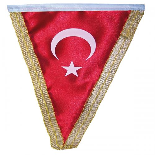 Vatan Masa Bayrağı Türk Üçgen Simli 15x22.5 VT203