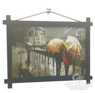 Yağmurlu İstanbul Ahşap Tablo Kod - 000012