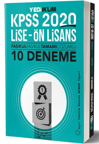 KPSS 2020 Lise Önlisans Fasikül Fasikül Tamamı Çözümlü 10 Deneme | Yediiklim Yayınları