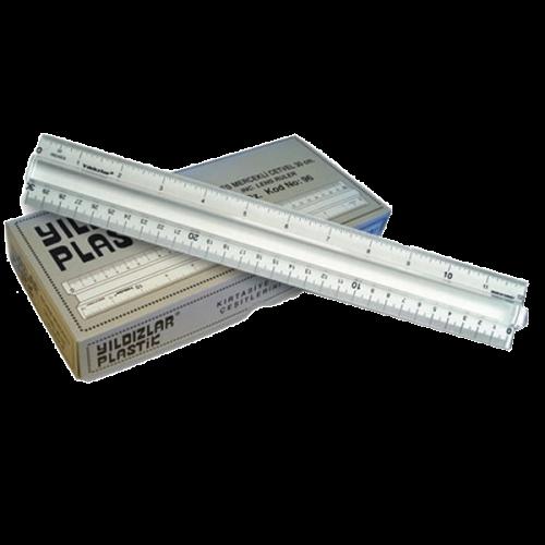 Yıldızlar Standart Cetvel Plastik Mercekli İnçli 30 CM 96