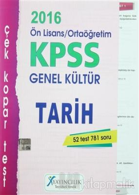 2016 KPSS Ön Lisans / Ortaöğretim Genel Kültür Tarih Çek Kopar Test