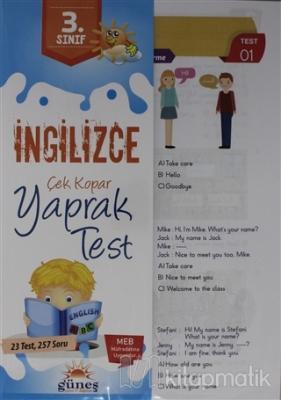 3. Sınıf İngilizce Çek Kopar Yaprak Test