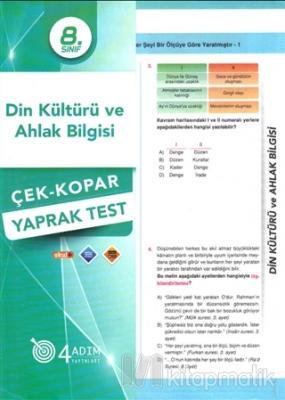 8. Sınıf Din Kültürü ve Ahlak Bilgisi Çek-Kopar Yaprak Test