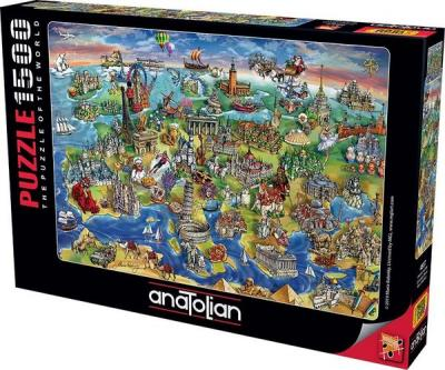 Puzzle 1500 Avrupa Haritası European World
