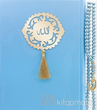 İnci Tesbih Hediyeli Kur'an'ı Kerim (Mavi) (Ciltli)