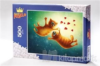 Kediler (500 Parça) - Ahşap Puzzle Aşk Serisi - (AS04-D) Kolektif