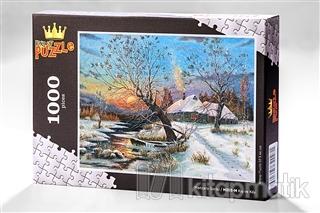 Kış ve Köy (1000 Parça) - Ahşap Puzzle Manzara Serisi - (MZ05-M)