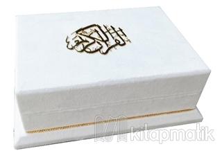 Sandıklı - Çeyizlik Veya Hediyelik Ahşap Kadife Sandıklı Kuran-ı Kerim - Beyaz Renk (Ciltli)