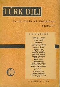 Türk Dili 10 Temmuz 1952