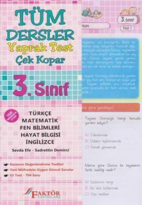 Faktör 3. Sınıf Tüm Dersler Yaprak Test-Çek Kopar YENİ
