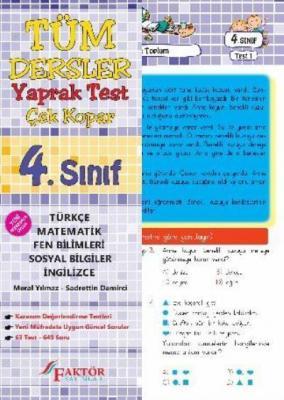 Faktör 4. Sınıf Tüm Dersler Yaprak Test-Çek Kopar YENİ
