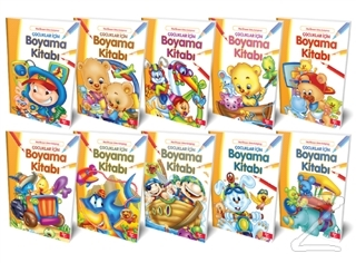 Çocuklar İçin Boyama Kitabı (10 Kitap Takım)