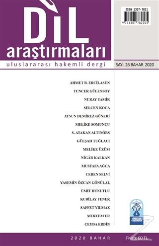 Dil Araştırmaları Uluslararası Hakemli Dergi Sayı: 26 Bahar 2020