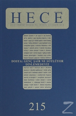 Hece Aylık Edebiyat Dergisi Sayı: 215 Kasım 2014