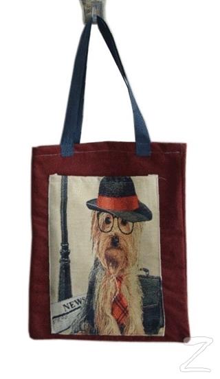 Kırmızı Şapkalı Köpek Cepli Bez Çanta Kod - 220155