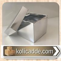 Karton Kapaklı Kutu 8x8x6,5 cm Gümüş Renkli