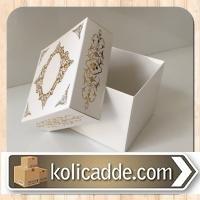 Kapaklı Karton Kutu 8x8x6,5 cm. Beyaza Gold