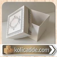 Kapaklı Desenli  Karton Kutu 8x8x6,5 cm. Beyaza Gümüş