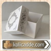 Desenli Kapaklı Kraft Kutu 8x8x6,5 cm. Beyaza Gümüş