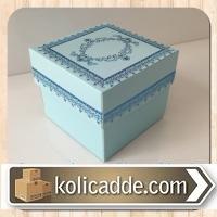 Desenli Küçük Karton Kutu 8x8x6,5 cm. Mavi Kilim Desen