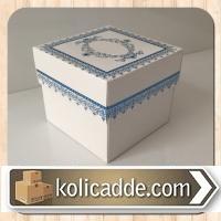 Desenli Kraft Hediye Kutusu 8x8x6,5 cm. Mavi Kilim Desen