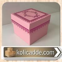 Kapaklı Karton Kutu 8x8x6,5 cm. Pembe Kilim Desen