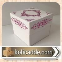 Hediyelik Karton Kutu 8x8x6,5 cm. Pembe Saray Desen