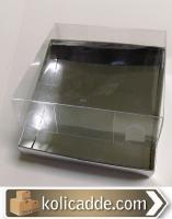 Asetat Kapaklı Gümüş Kutu 8x8x2 cm.